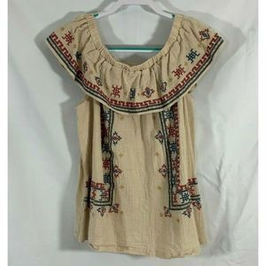 Easel off shoulder embroidered fiesta blouse M